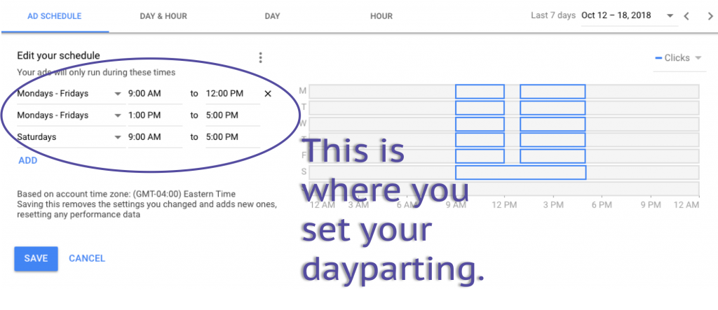 google ads day parting settings