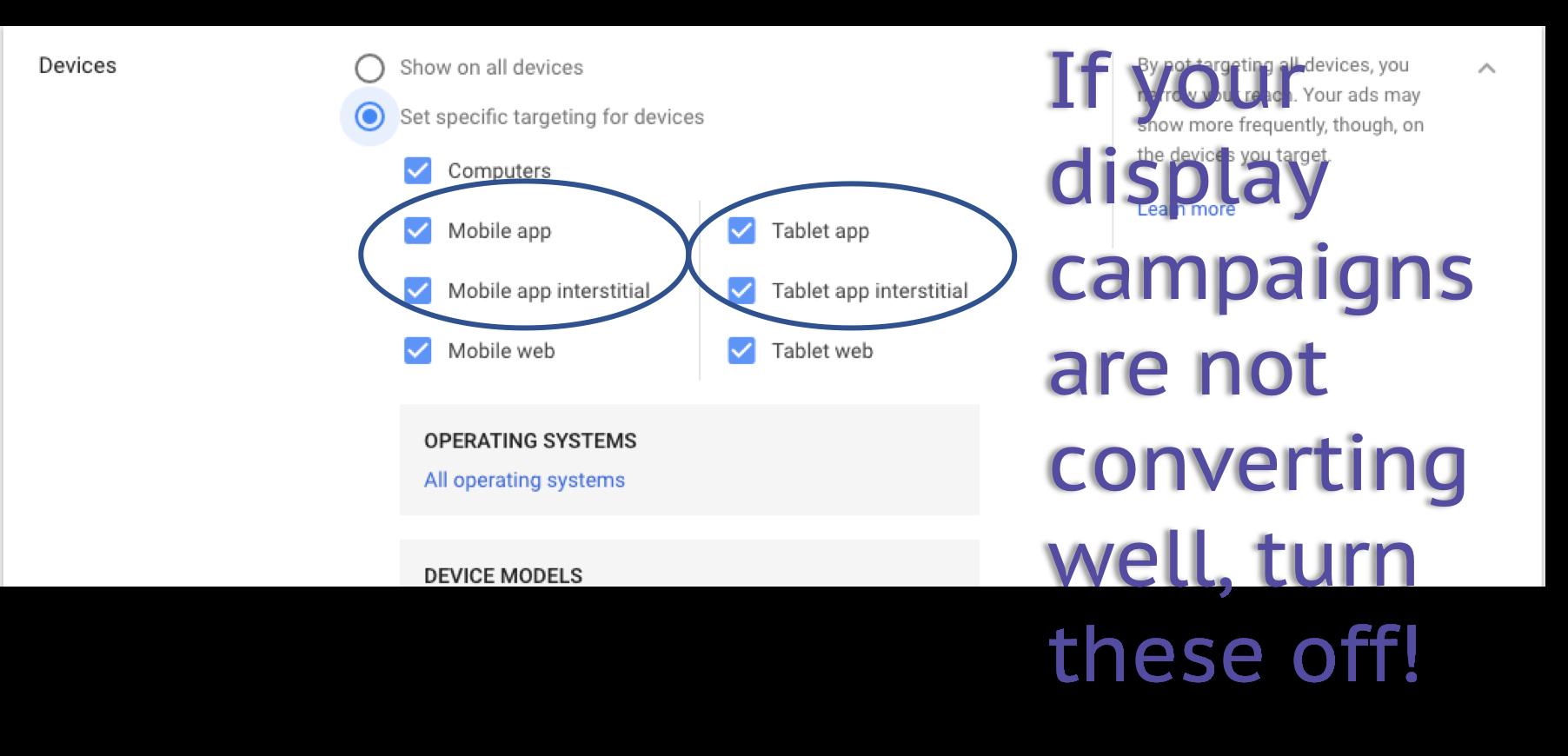 google ads display advanced settings