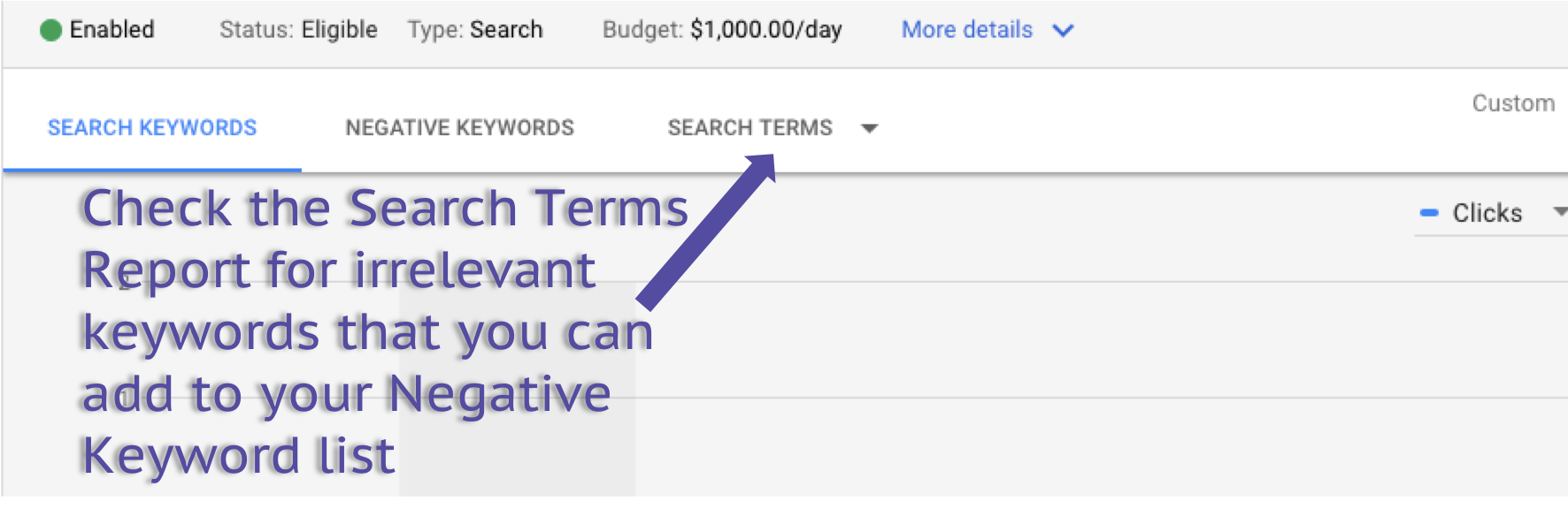 google ads search term report
