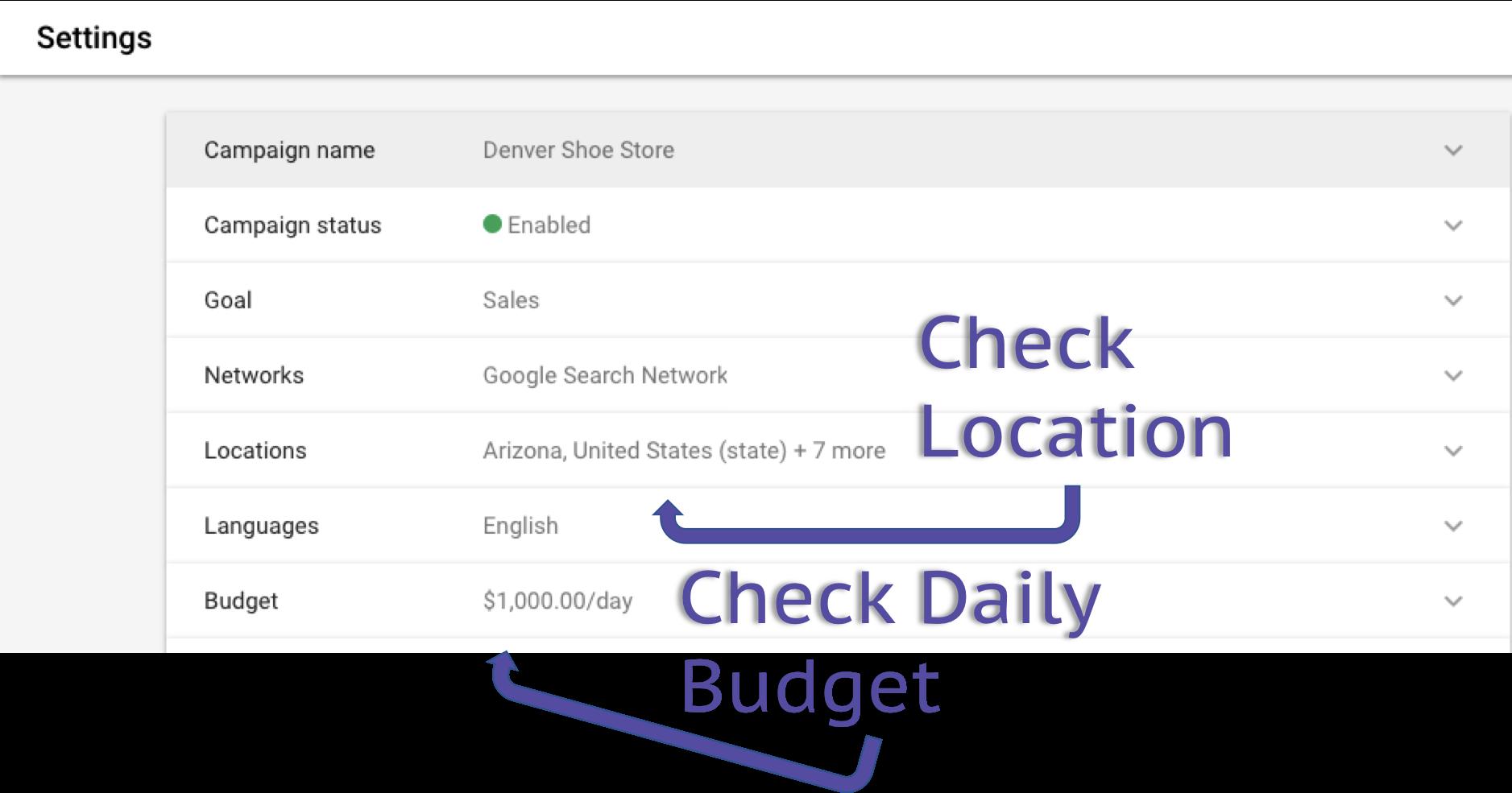 settings location google ads